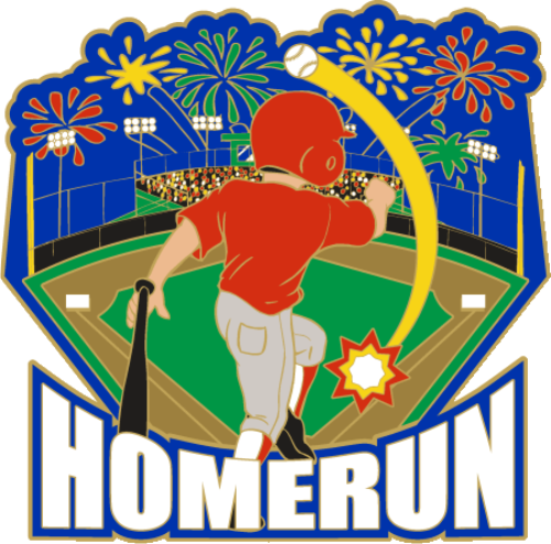 "1 1/4"" Homerun Baseball Pin-2977"