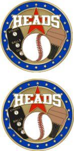 """1 1/2"""" Double Headed Baseball Coin-3098"""
