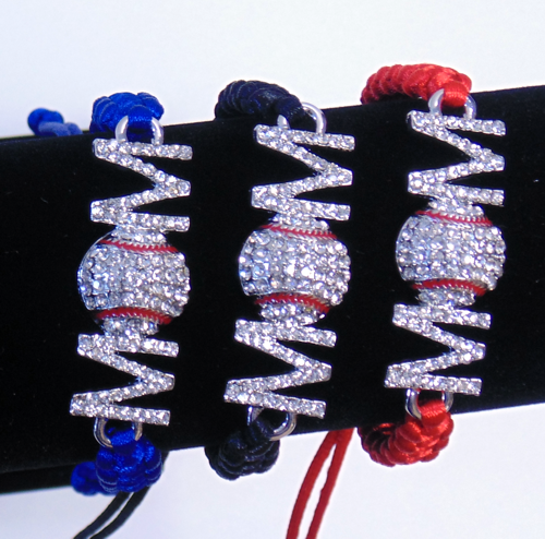 Baseball Mom Rhinestone String Bracelet With Red Strings-3000