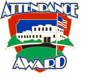 "1"" Attendance Award School Pin-2920"