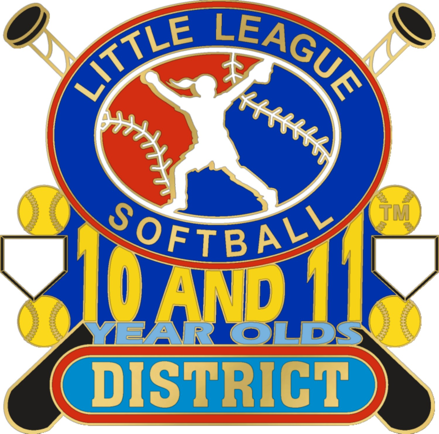 "1 1/4"" 10-11 District Softball Pin-3067"