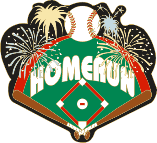 "1.25"" Firework Homerun Baseball Pin-2972"