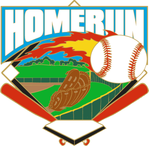 "1 1/4"" Homerun Fireball Baseball Pin-2978"