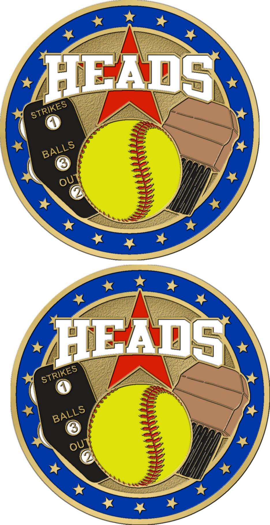 """1 1/2"""" Double Headed Softball Coin-3099"""