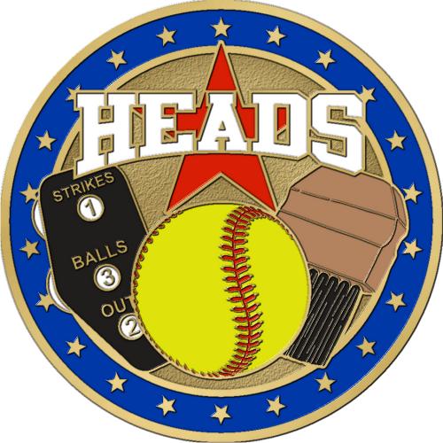 """1 1/2"""" Double Headed Softball Coin-2942"""