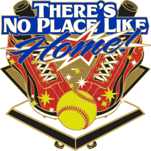"1.75"" No Place Like Home Glitter Softball Trading Pin-2957"