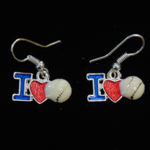 I Love Baseball Earrings-3017