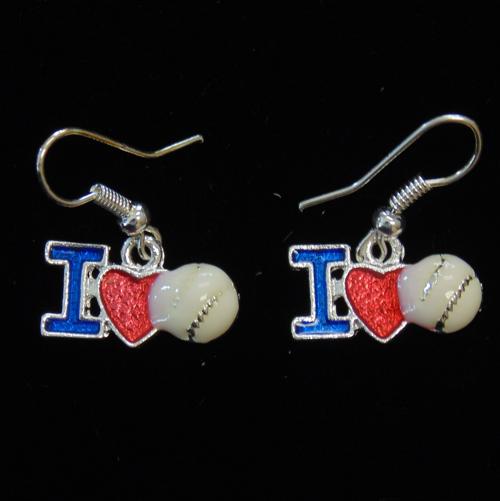 I Love Baseball Earrings-3017