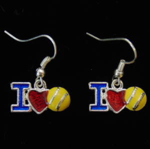 I Love Softball Earrings-3018