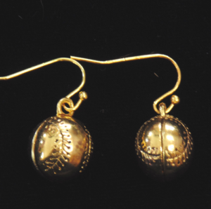 Gold Finish Baseball/Softball Earrings-3039