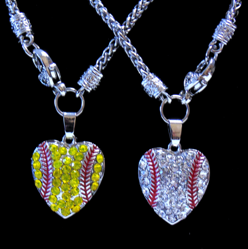 Rhinestone Encrusted Baseball Heart Necklace-2997