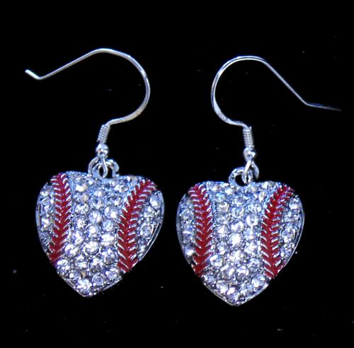 Rhinestone Encrusted Baseball Heart Earrings-2996