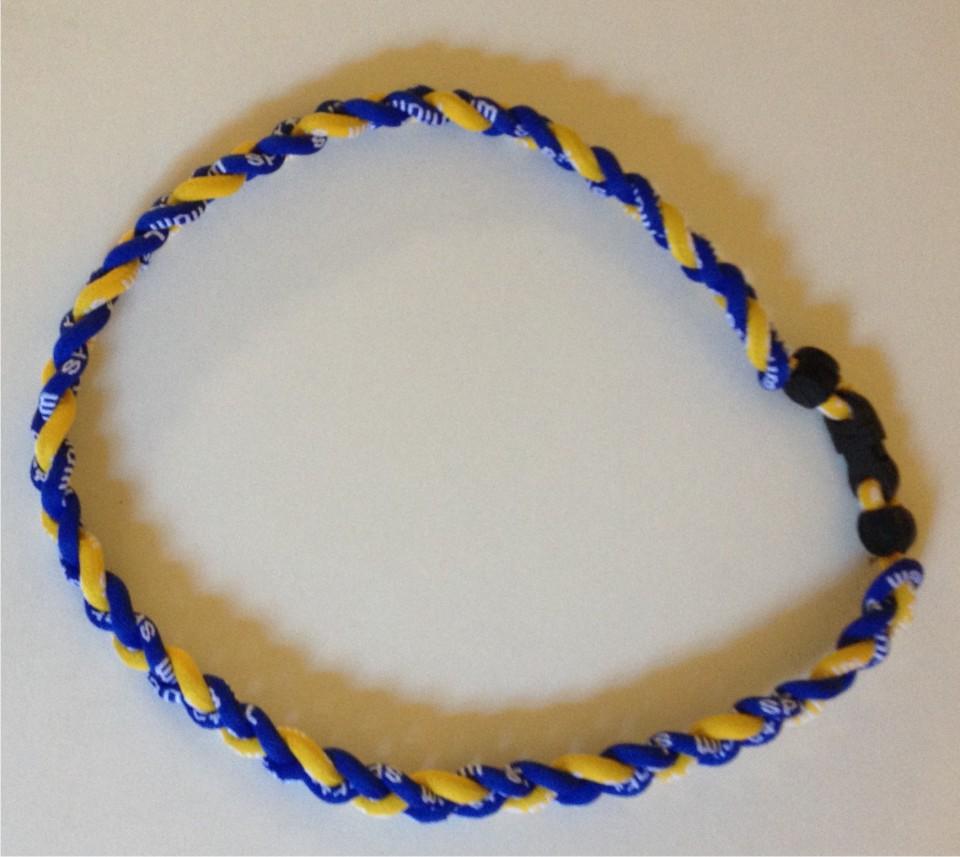 blue and gold titanium and germanium necklace dph custom