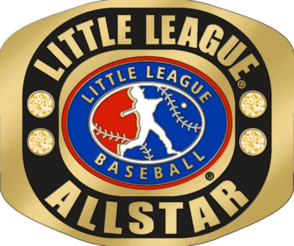 "Little League ALL STAR Ring with Little League logo. Comes with 25"" chain and Velvet Pouch. Size 10-3134"