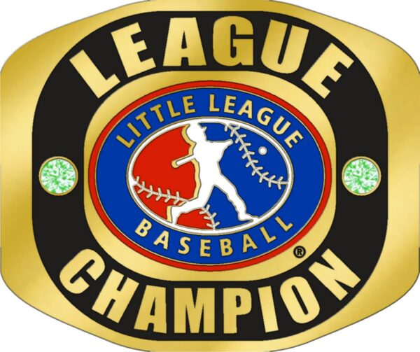 "Little League LEAGUE CHAMPION Ring with Little League Logo. Comes with 25"" Chain and Velvet Pouch Size- 10-3125"