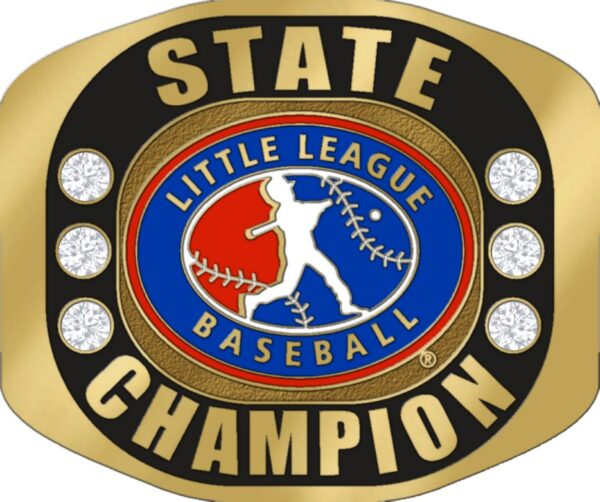 """Little League STATE CHAMPION Ring with Little League Logo. Comes with 25"""" Chain and Velvet Pouch. Size 10-3131"""