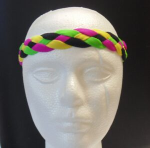 Braided Headband-Purple, Green, Yellow -3140