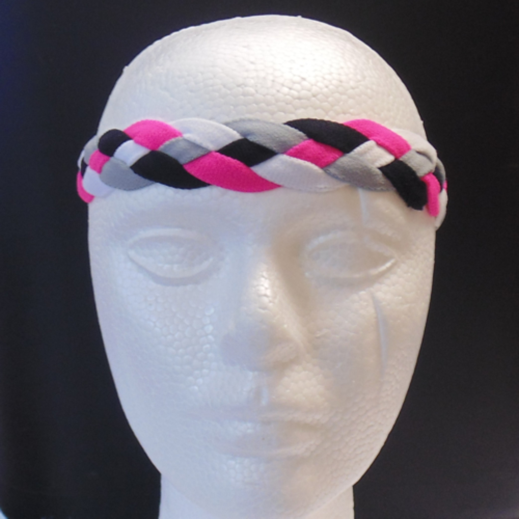 Braided Headband- Pink, Black , Gray Braid-3142