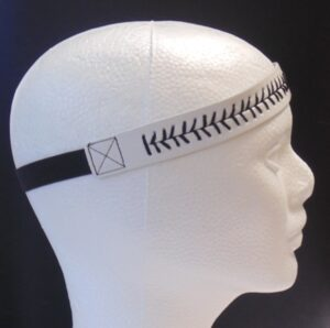 Leather Headband- White w/Black Stitch-3147
