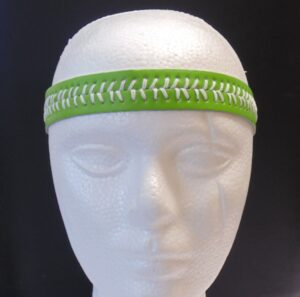 Leather Headband- Lime Green w/White Stitches-3149