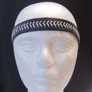 Leather Headband- Black w/White Stitches-3153