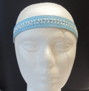 Leather Headband- Light Blue w/ White Stitches-3157