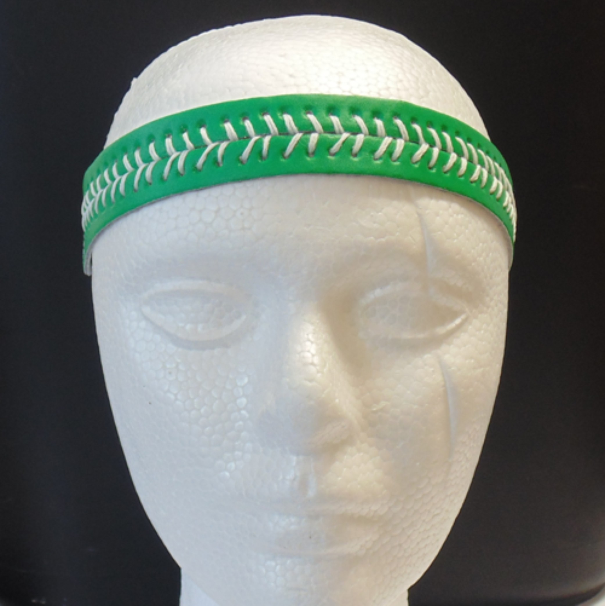 Leather Headband- Green w/White Stitches-3159