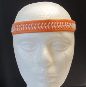 Leather Headband- Orange w/White Stitches-3161