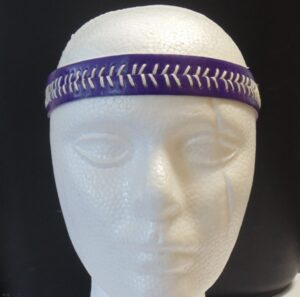 Leather Headband- Purple w/White Stitches-3163