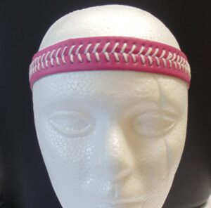 Leather Headband- Pink w/White Stitches-3165