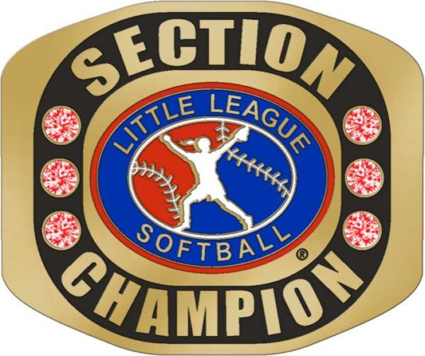 "Little League SECTION CHAMPION Softball Ring with Little League Softball Logo. Comes with 25"" Chain and Velvet Pouch. Size- 8-3168"