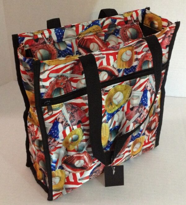 """LARGE AMERICANA TOTE BAG . 3 LARGE COMPARTMENTS 13"""" TALL 12"""" WIDE 4.5"""" GUSSET-3173"""