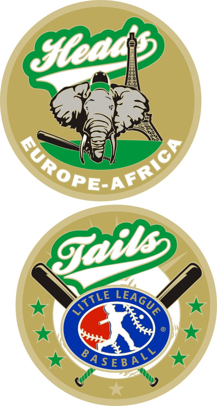 "1.5"" EUROPE-AFRICA LITTLE LEAGUE FLIPPING COIN-3212"
