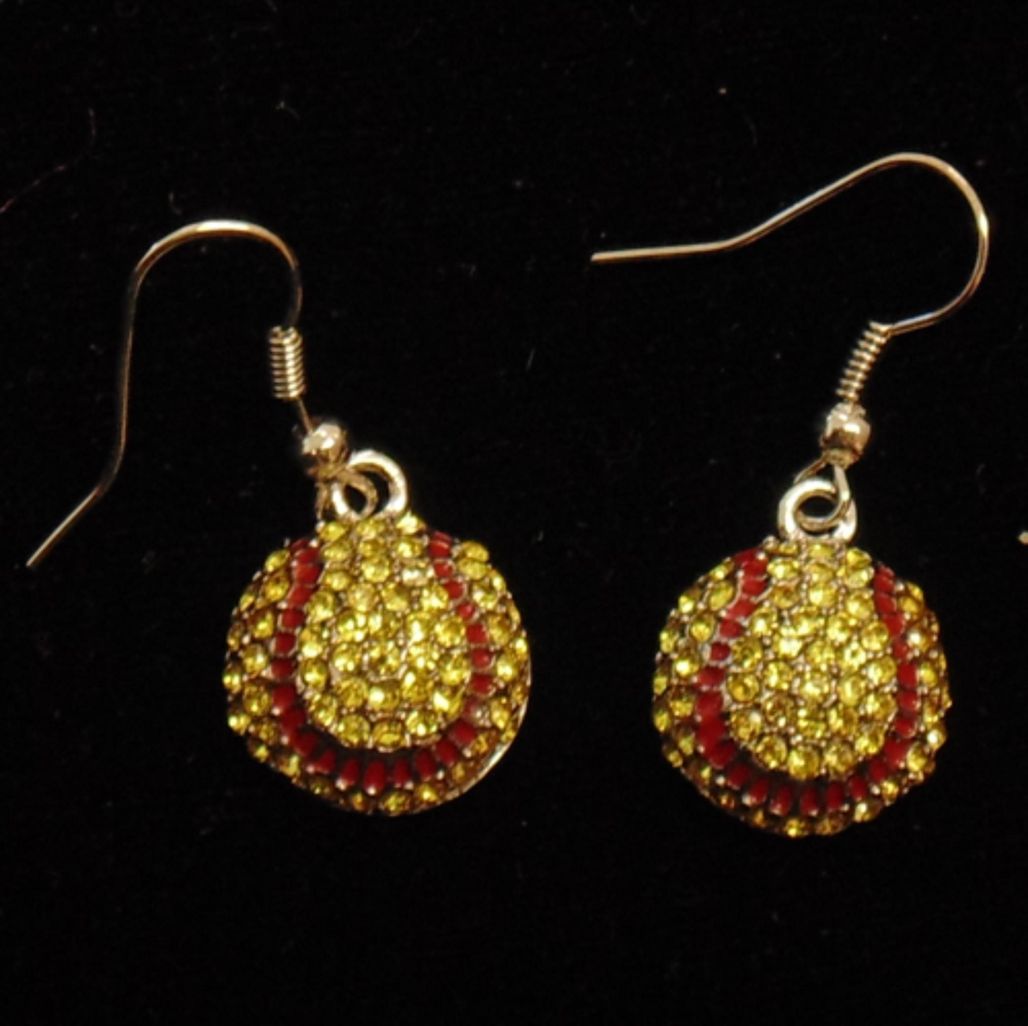 rhinestone encrusted softball earrings dph custom pins