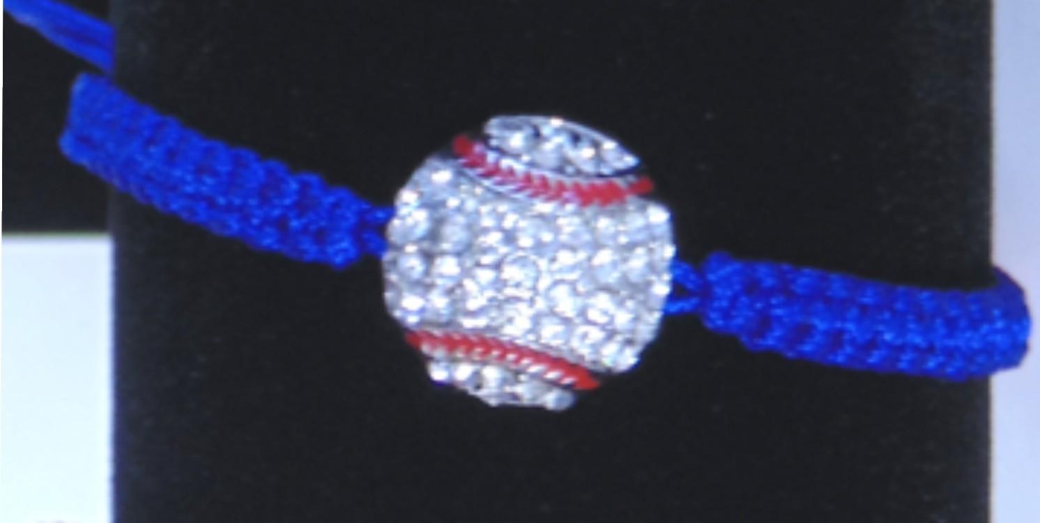 Rhinestone Baseball Blue String Bracelet